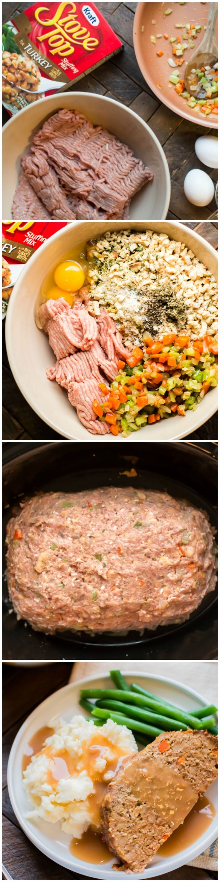 Slow Cooker Stove-Top Stuffing Turkey Meatloaf. Stuffing mix is used as a binder in this delicious turkey meatloaf!
