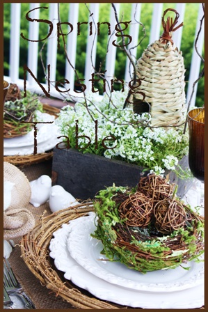 TABLESCAPEEaster Dinner, Spring Tablescapes, Spring Nests, Spring Holiday, Birds Nests, Spring Places, Places Sets, Tables Decor, Nests Tables