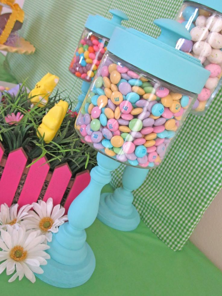 These are adorable-great idea: Ideas, Easter Candy, Diy Tutorials, Candlesticks Jars, Accent Colors, Wood Connection, Apothecaries Jars, Candy Jars, Crafts