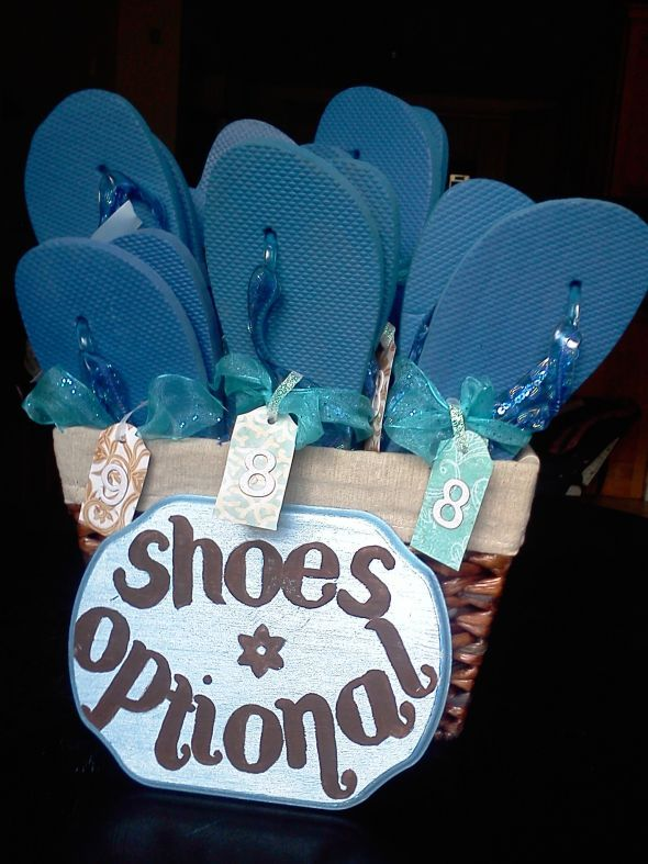 "My beach wedding Flip Flop basket with ""Shoes Optional"" sign :  wedding 061412095552"