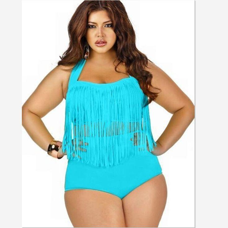 Plus Size Swimwear Bikini Set Sexy Women High Waist Swimsuit Tassel 2
