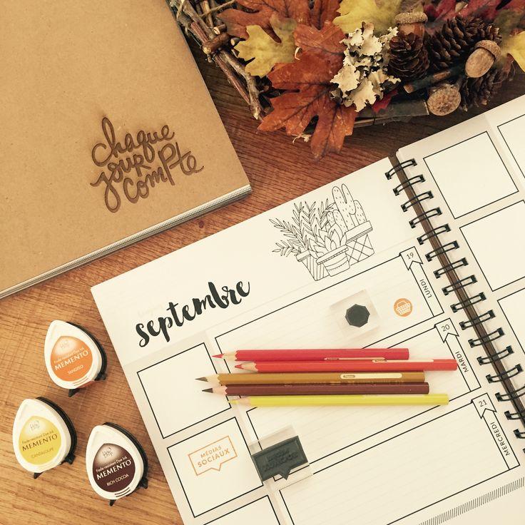 Planificateur créatif- Agenda de la collection Chaque jour compte. Bientôt en précommande pour l'édition Janvier à décembre 2017 sur Chaquejourcompte.com #agenda2017 #étampes #Planificateur