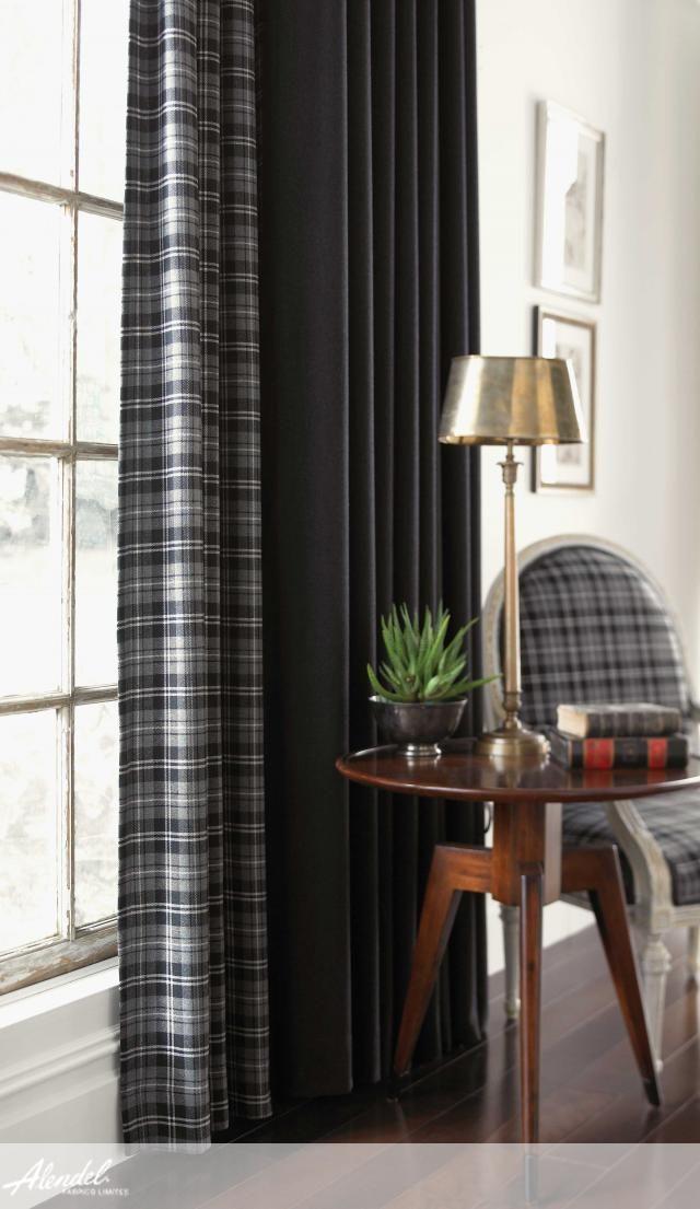 Alendel Fabrics Metropolitan Collection | Patterns Checkerboard in colours Ash Grey & Metropolitan in colour Urban Charcoal