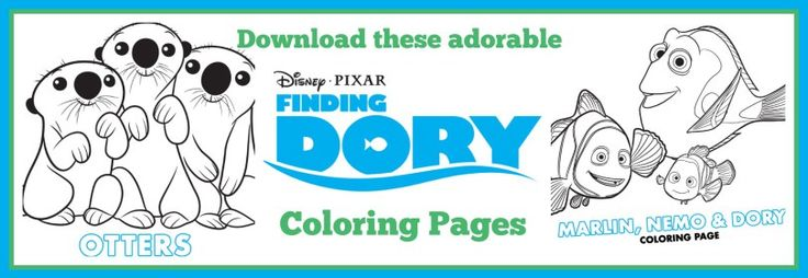 Finding Dory Coloring Sheets - Dory, Marlin, Nemo, Sea Otters, Hank and more!!