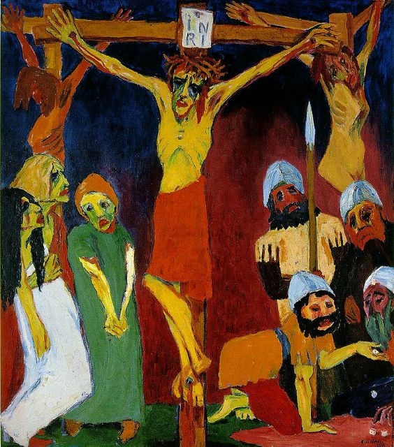 Emil Nolde, Kreuzigung Crucifixion. 1912, Folkwang Mus. Essen. This painting was banned by the Nazi regime and exhibited at the Degenerate art exhibition in Munich in 1937.
