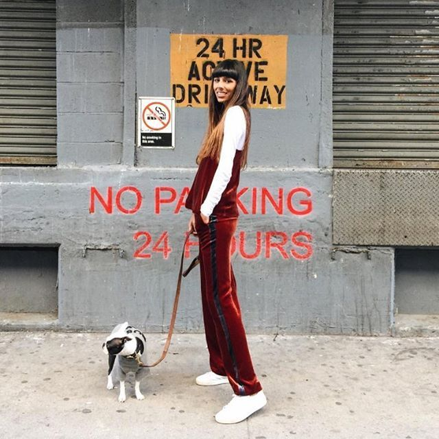 Babba Canales in our 'Sporty Velvet Pants' and 'Velvet Strap Top'.