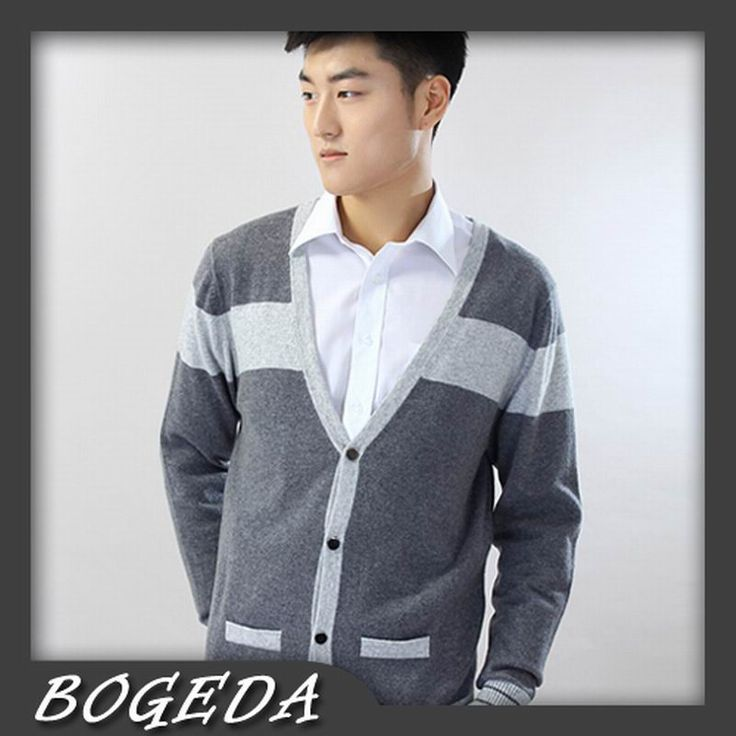 >> Click to Buy << Cashmere Sweater Men 's Cardigan V neck Gray Striped Fashion Style High Quality Natural fabric Free shipping Stock Clearance #Affiliate