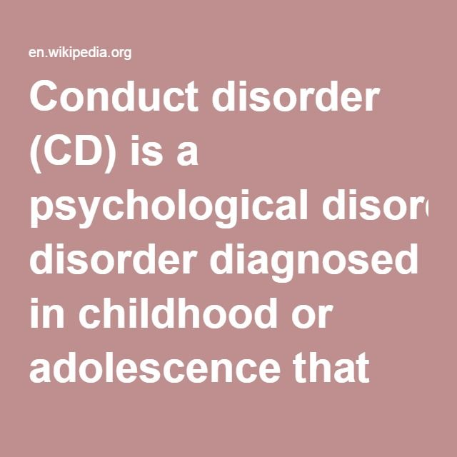 "Conduct Disorder (CD)-- is a psychological disorder diagnosed in childhood or adolescence that presents itself through a repetitive and persistent pattern of behavior in which the basic rights of others or major age-appropriate norms are violated. These behaviors are often referred to as ""antisocial behaviors."" It is often seen as the precursor to antisocial personality disorder, which is not diagnosed until the individual is 18 years old. Conduct disorder is estimated to affect 51.1 million"