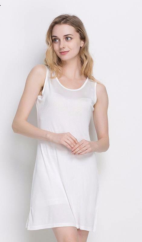 Women's 100% Pure Silk Slip Long Shoulder-Straps Sleeveless