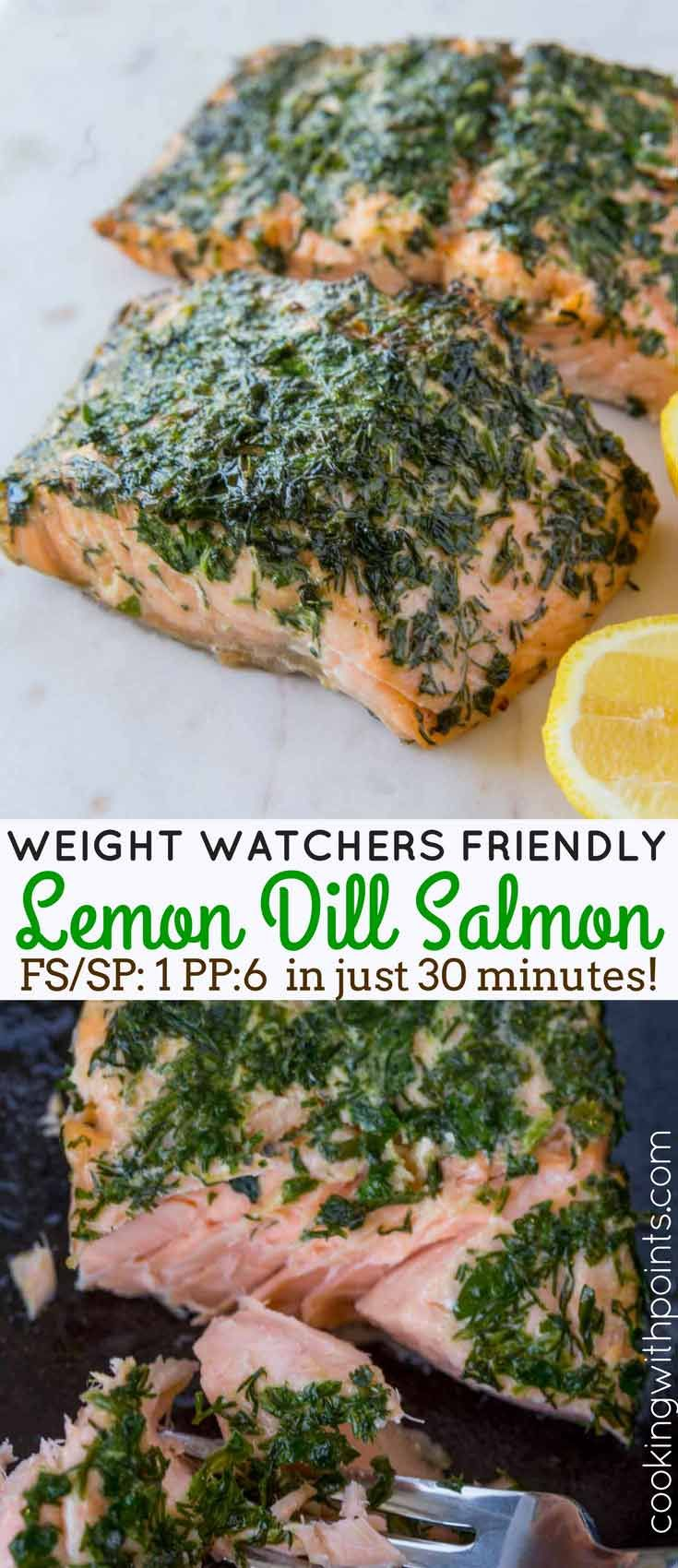 Lemon Dill Salmon with just five ingredients is a bright, fresh, delicious salmon option you can enjoy warm or cold. The perfect main course or topping on a spring salad that is just 1 Weight Watchers smart point per serving.