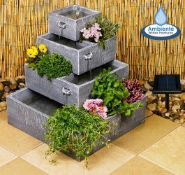 4-Tier Cascade Solar Water Fountain Planter – Water Features For The Yard