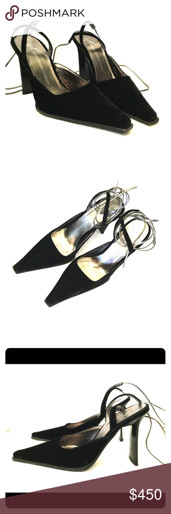 Giuseppe Zanotti velvet lace-up heels These Giuseppe Zanotti heels feature black velvet with a silver lace-up design. These heels are in excellent condition with only minor signs of wear near edges of soles. Please see photos for details Giuseppe Zanotti Shoes Heels
