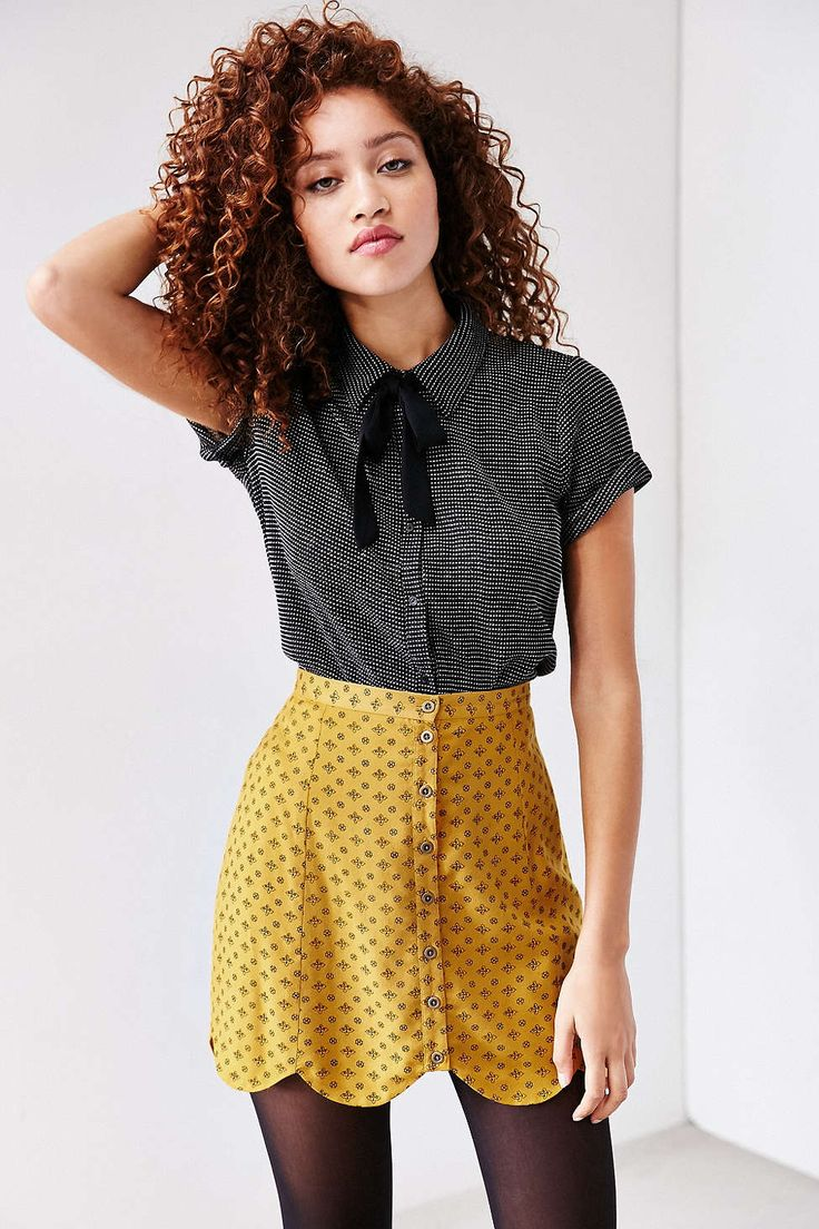 Cooperative Scallop-Edge A-Line Skirt #UrbanOutfitters