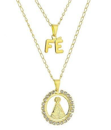 DESCRIÇÃO:Gargantilha dupla folheada a ouro, contendo pingente de Nossa Senhora Aparecida rodeada por pedras de strass e pingente FÉ.GARANTIA:1 ano após a data da compraPRAZO DE LIBERAÇÃO:Até 48 horas (somente dias úteis)DIMENSÕES APROXIMADAS:-dimensões do ping. N. Sra. Aparecida: 2,7 cm x 2,1 cm-dimensões do ping. FÉ: 1,7 cm x 1,2 cm-comprimento da corrente (sem extensor): 39 cm-comprimento da corrente (com extensor): 49 cm (pç)R$ 41,80 👉 folheados.com/dpbr