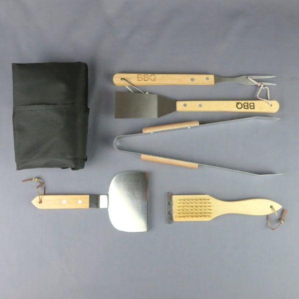 Kit barbecue : spatule, pic et pince, tablier,brosse de nettoyage grille, spatule à hamburger