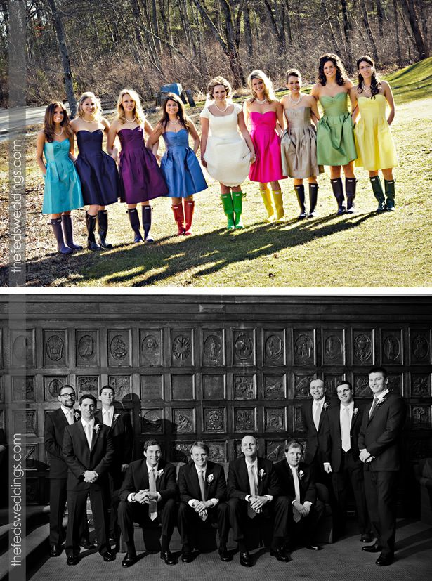 Go for a bold colour theme: Bride and Bridesmaids wearing multi-coloured Hunter Boots.