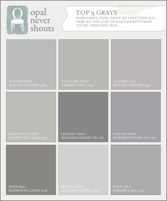 Nice Selection Of Gray Paint Colors Opal Design Group By Nita