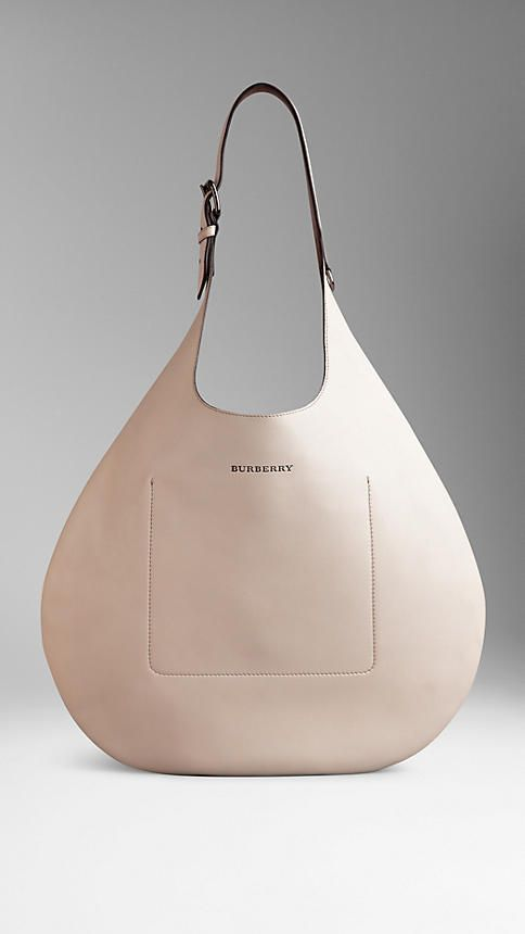 Medium Bonded Leather Hobo Bag | Burberry