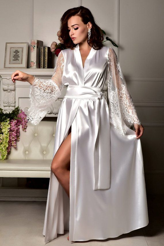 9c2041ced7c Long bridal robe Long white robe Wedding kimono Long lace bridal ...