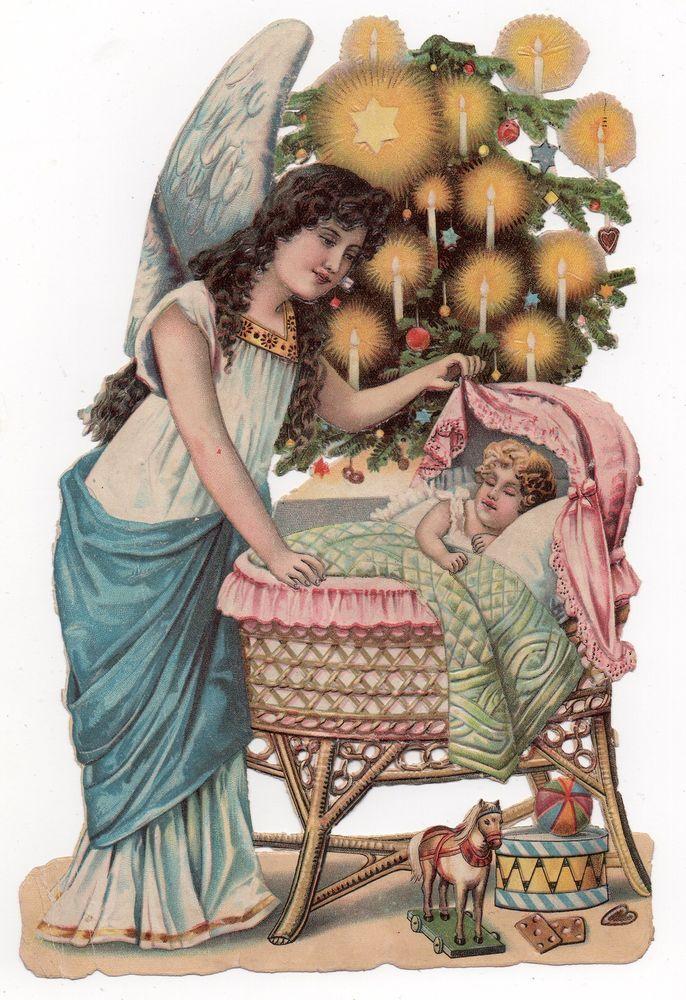 Chromo découpi oblaten glanzbild die cut scrap Ange angel engel Noël sapin 25cm