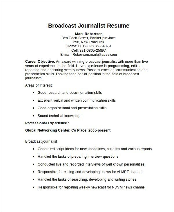 Resume Templates Journalism Resume Templates Professional Resume Samples Sample Resume