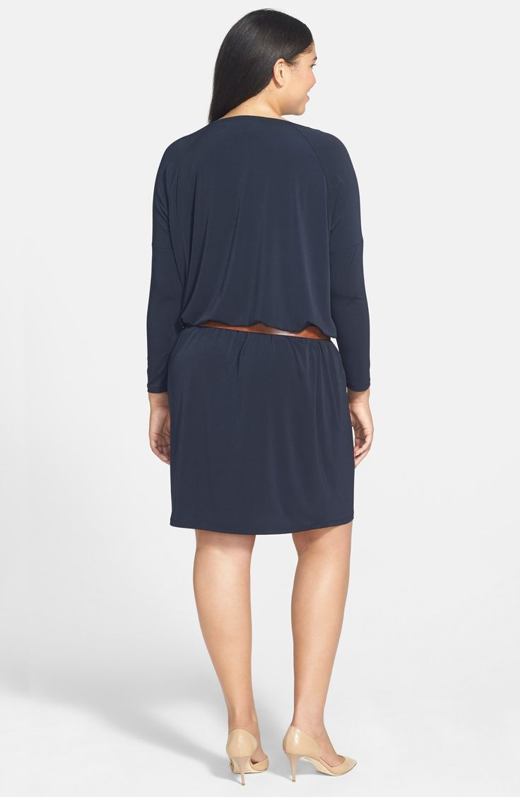 Free shipping and returns on MICHAEL Michael Kors Zip Sleeve Dress (Plus Size) at Nordstrom.com. Gleaming golden zips run down the dropped shoulders of a fluid jersey dress casually styled with a round neckline and easy blouson silhouette. A contrast belt provides figure-defining flattery to the effortless style.