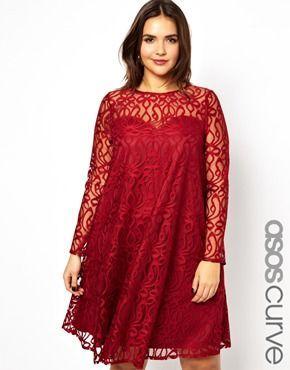 Κόκκινο εορταστικό φόρεμα για κορίτσια με καμπύλες