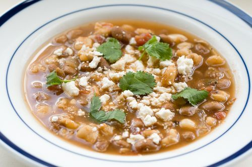 Vegetarian Pozole de Frijol - Quick and Hearty Soup with Hominy and Pinto Beans - Recipe