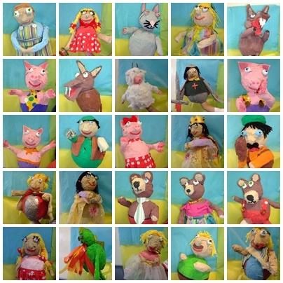 muñecos de cuentos realizados con papel  maché y decorados con material de reciclado