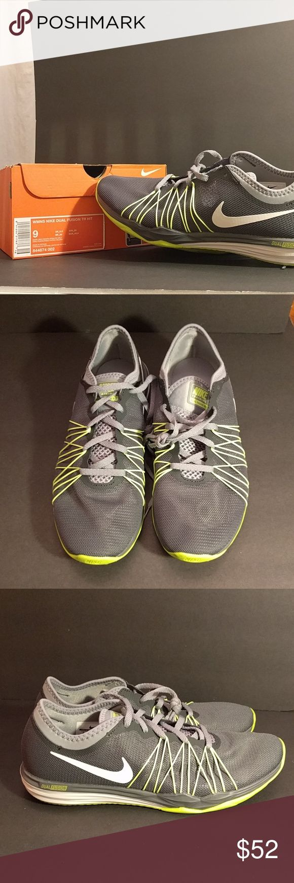 Nike Dual Fusion shoes grey NWT in the box. Neon yellow accents. Dual Fusion shoe 9 Nike Shoes Athletic Shoes