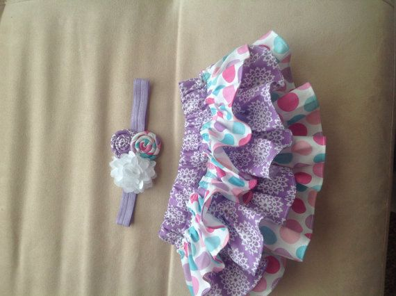 Lavender aqua and pink polka dot and flower by amysbuttonsandbows