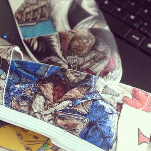 Assassin's Creed shoes by Fauve Boudreau Creations. Here's Arno Victor Dorian from Assassin's Creed Unity.  #shoeart #shoes #art #artist #drawing #handmade #diy #assassincreed #assassin #assassins #unity #gamer #geek #geekart #gamerart #fauvesshoes