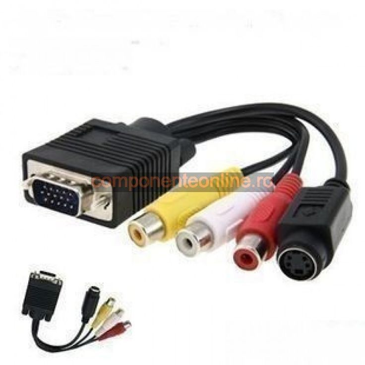 Convertor S-Video-VGA la TV, Cablu Adaptor RCA-Out - 128045