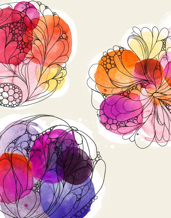 lingwoodimap:  Watercolour circles overlapping with fine line illustrations over the top.