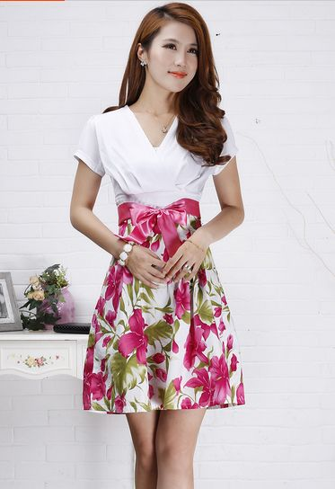 2014 summer one-piece dress short-sleeve fashion slim broken V-neck print high waist skirt female - OK Fashion