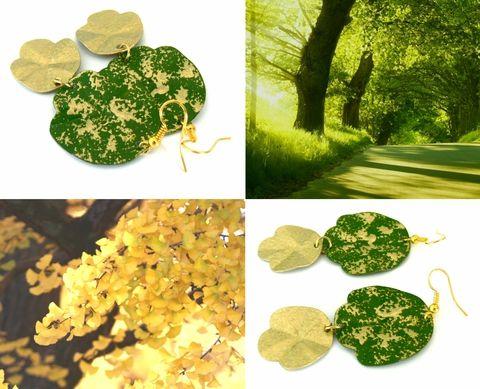 Zöld és arany fülbevaló, Ékszer, óra, Fülbevaló, Ékszerkészítés, Fémmegmunkálás, Meska