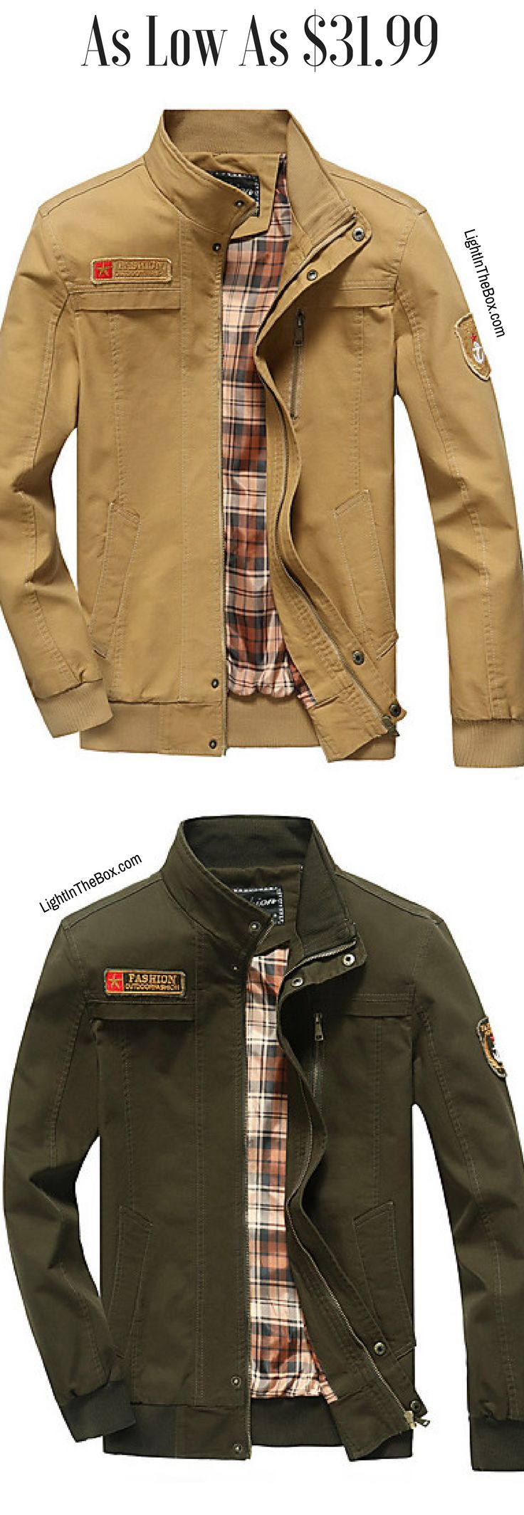 High collar jacket is ideal for men who doesn't like scarfs. Click on the picture to find these casual men jackets for fall/ autumn (in beige, khaki, army green and black colours = $31.99).
