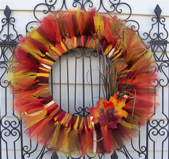 Fall ribbon wreath. Ribbon wreaths are awesome!