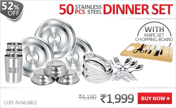 50 Pcs Steel  Stainless Dinner Set + Knife Set + Chopping Board   A complete kitchen set consisting of a 50 pc dinner set, knife set and a chopping board. The set is a complete range of dinner ware.    50 Pcs Stainless Steel Dinner Set  Utensils with the same Design makes the kitchen and Dining Table look neat and tidy.  Good Material: Good quality stainless steel, and has mirror finish, Thickness/Gauge: 0.3mm