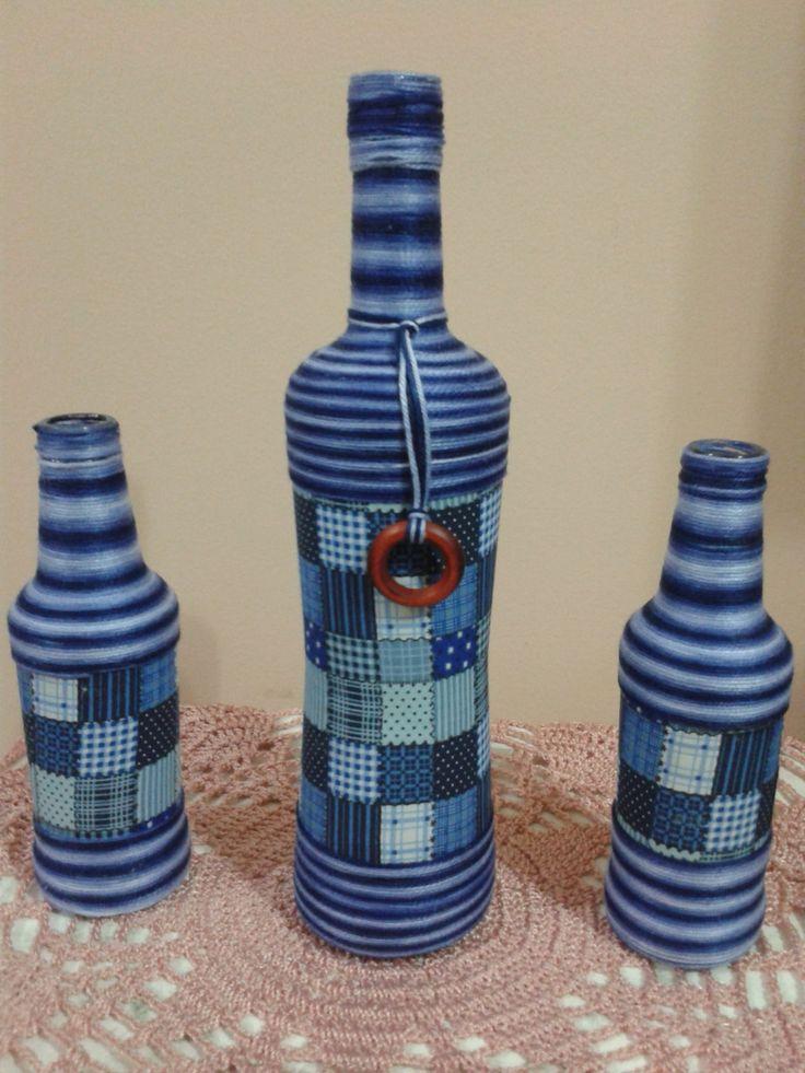 Trio garrafas tecido e linha. Produzidas por Atelier Eliana Luz
