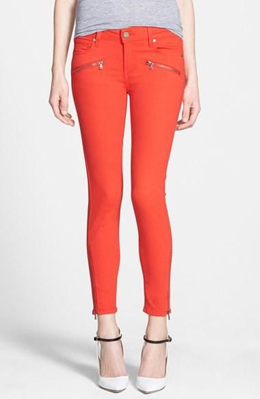 Love this shade of red skinny jeans!