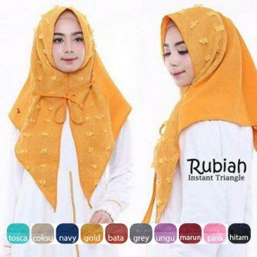 Jilbab instan / Triangle Rubiah (ver premium), Jilbab instant 1x slup model segitiga, dengan variasi linen rubiah dan tali di bagian depan jilbab