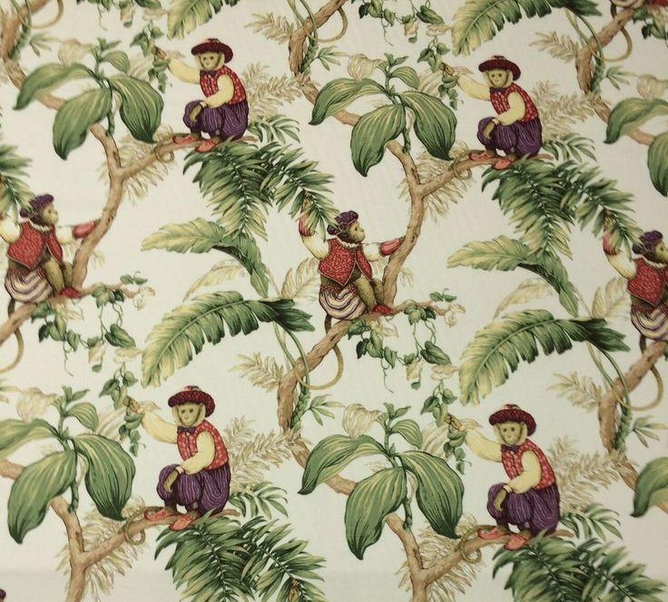 P Kaufmann Copacabana Cream Monkey Toile Fabric Shower