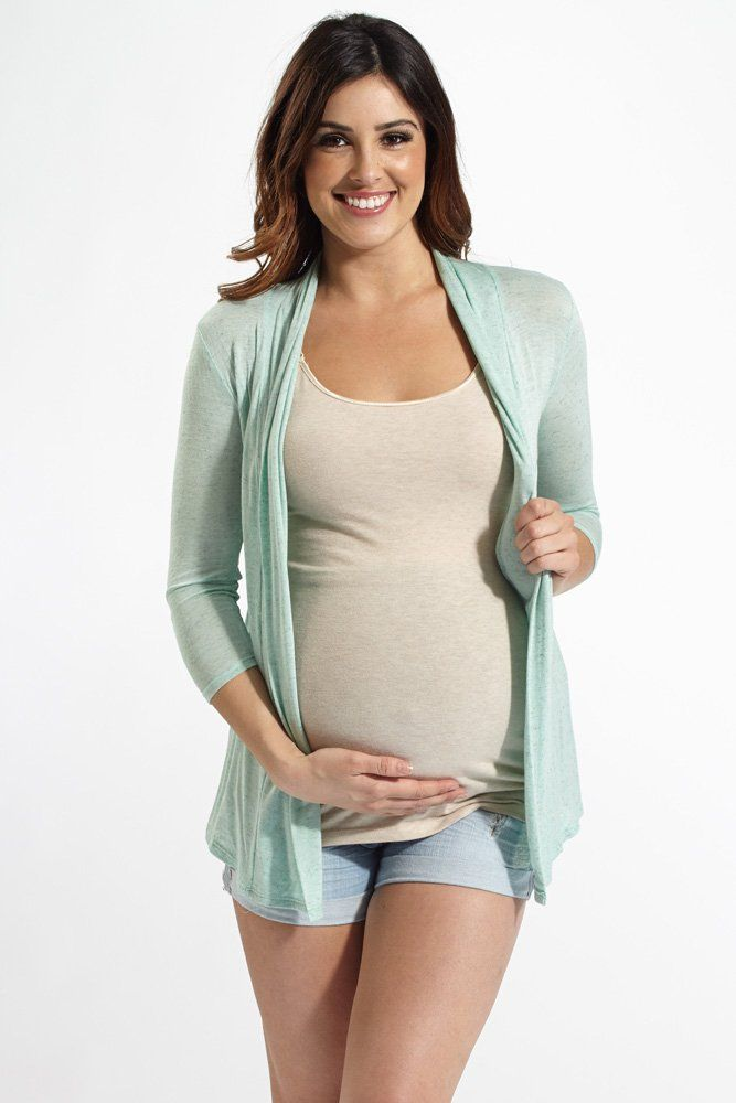 This light hued heathered maternity cardigan has a gorgeous layered back style and lightweight material to make it the perfect accent piece to complete your look.