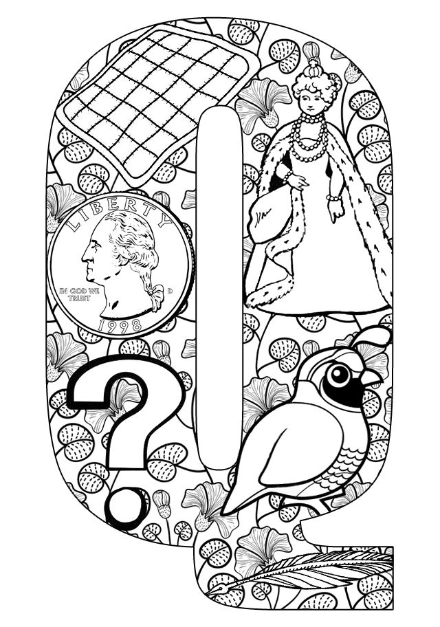 Things that start with Q - Free Printable Coloring Pages