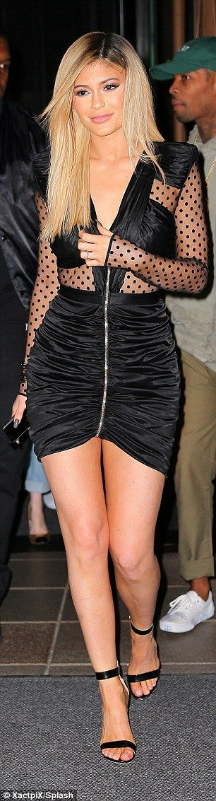 Guest of honour! Kylie Jenner looked fantastic in a reinvented LBD when she attended a Galore fashion week party beside boyfriend Tyga in New York City on Monday
