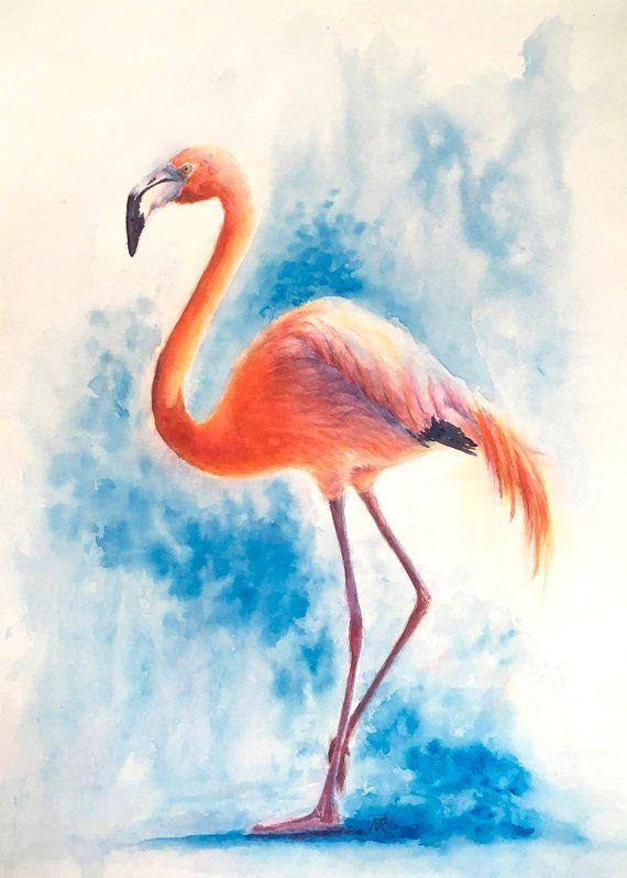 Flamingo Original Watercolour Painting Bird Art Painting Of Bird