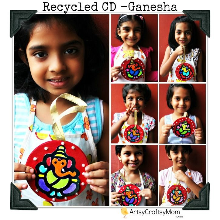 Ganesha craft CD wall hanging | via ArtsyCraftsyMom.com - Ganesh Chaturthi Crafts and Activities to do with Kids - Make a Clay Ganesha, decorate, Ganesha's throne & umbrella, rangoli ideas, recipes, books and more