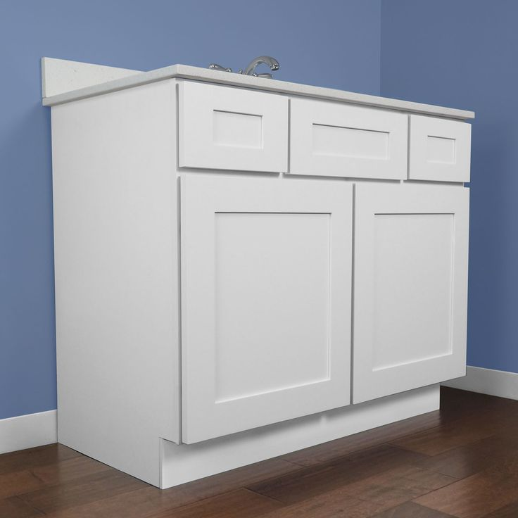 42 Inch Bathroom Vanity Single Sink Cabinet In White Shaker With Soft Close Doors And Drawers 42