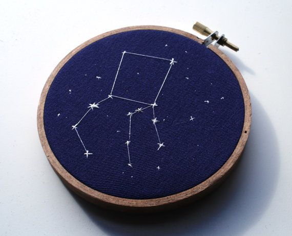Hand embroidered constellations. WANT!